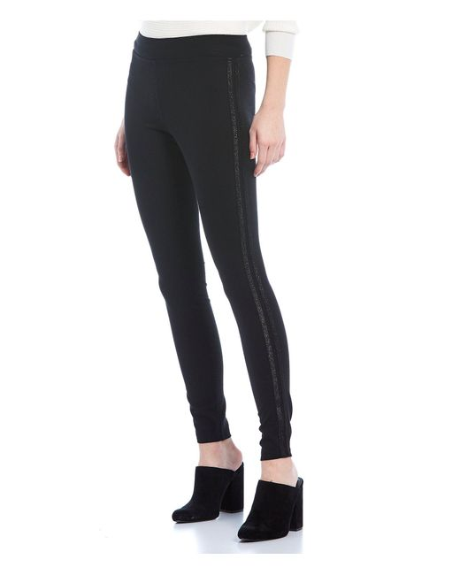 Hue Black Metallic Racer Stripe Ponte Leggings