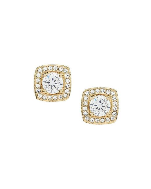 Nadri | Metallic Goldtone Framed Cz Stud Earrings | Lyst