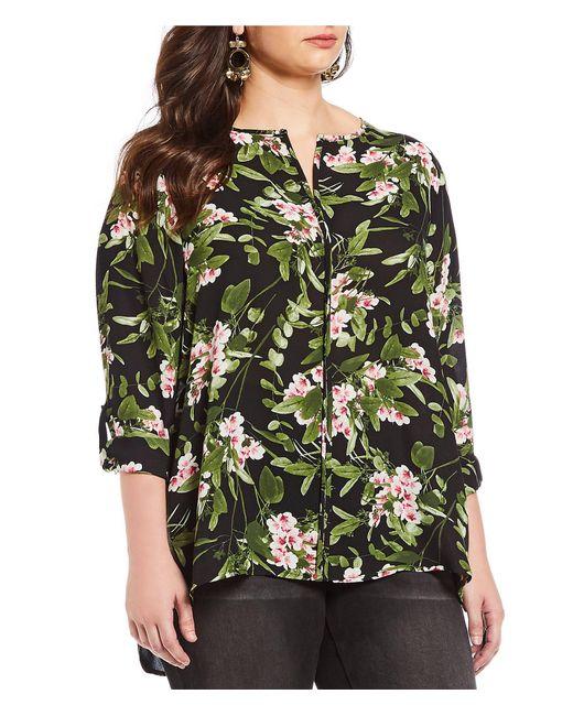 Bobeau - Black Plus Size Floral Print Split V-neck Pleat Back Hi-low Tunic Top - Lyst