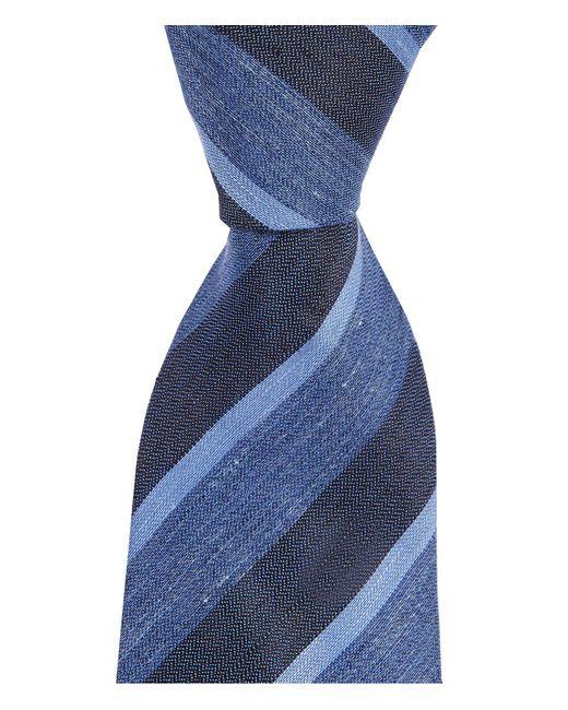 "John Varvatos - Blue Heathered Stripe Traditional 3.14"" Silk Tie for Men - Lyst"