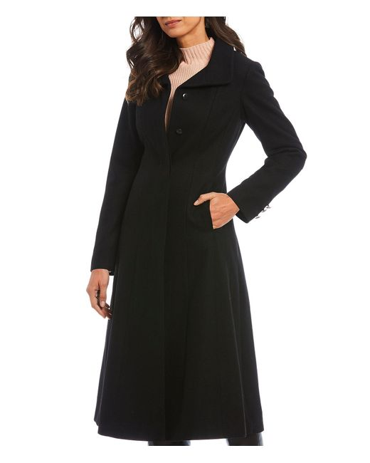 Gallery Black Fit And Flare Wool Blend Full Length Coat