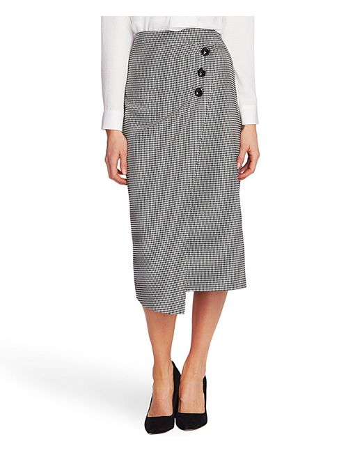 Vince Camuto Gray High Waisted Houndstooth Button Front Wrap Midi Skirt