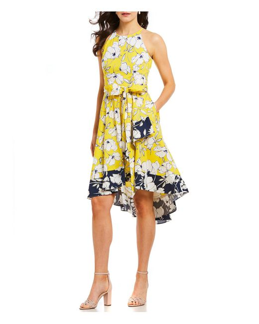 Eliza J - Yellow Floral Print Two Tone Halter Dress - Lyst