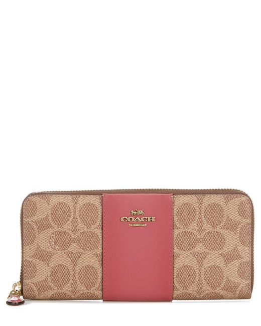 COACH Pink Signature Colorblock Canvas Slim Accordion Zip Wallet