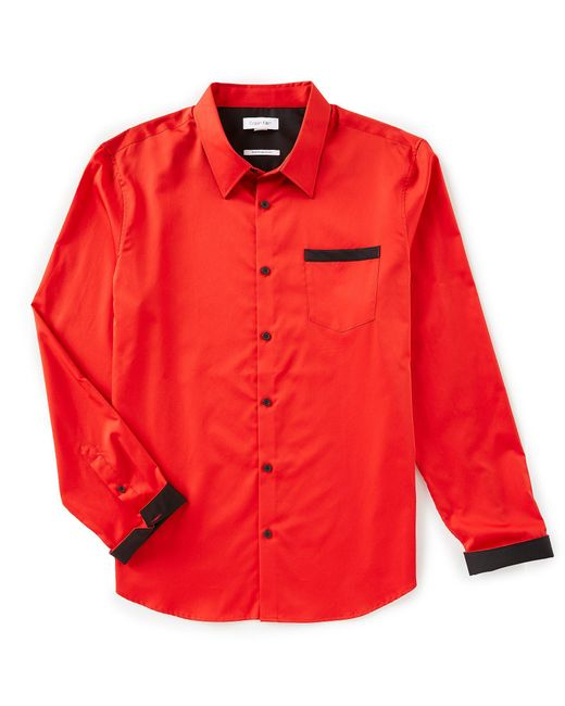 Calvin Klein Red Slim-fit Solid Sateen Long-sleeve Woven Shirt for men