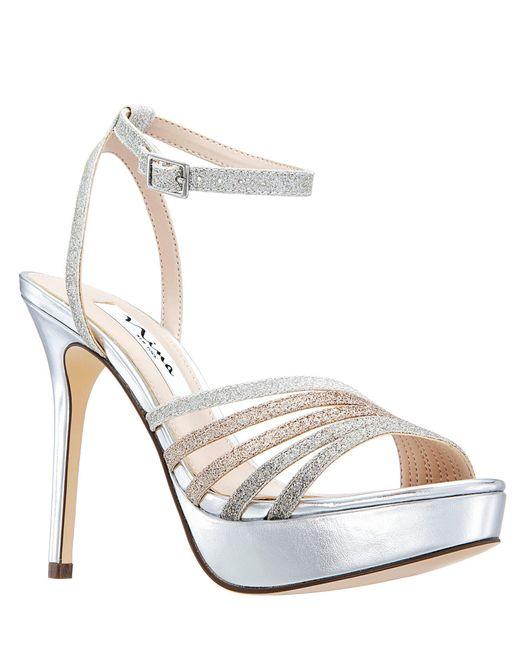 2a18108beda Nina - Metallic Starla Glitter Platform Dress Sandals - Lyst ...