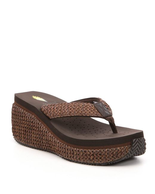Volatile - Brown Zadie Raffia Platform Wedge Sandals - Lyst