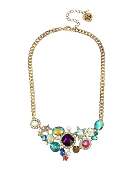 Betsey Johnson - Multicolor Mixed Stone Cluster Frontal Necklace - Lyst