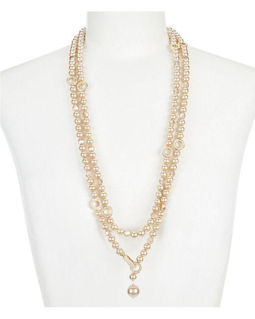 "Carolee - Metallic 60"" Adjustable Pearl Necklace - Lyst"