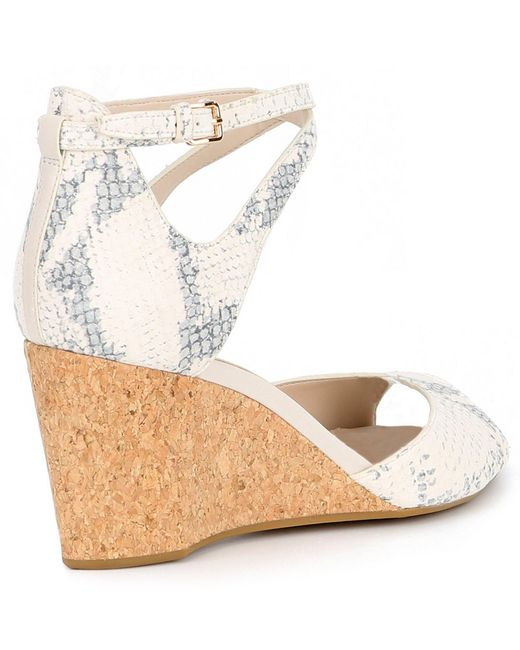 513d41ddec ... Cole Haan - White Sadie Snake Print Leather Grand Cork Wedge Sandals -  Lyst ...