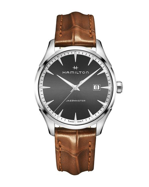 Hamilton - Brown Jazzmaster Gent Analog & Date Leather-strap Watch for Men - Lyst