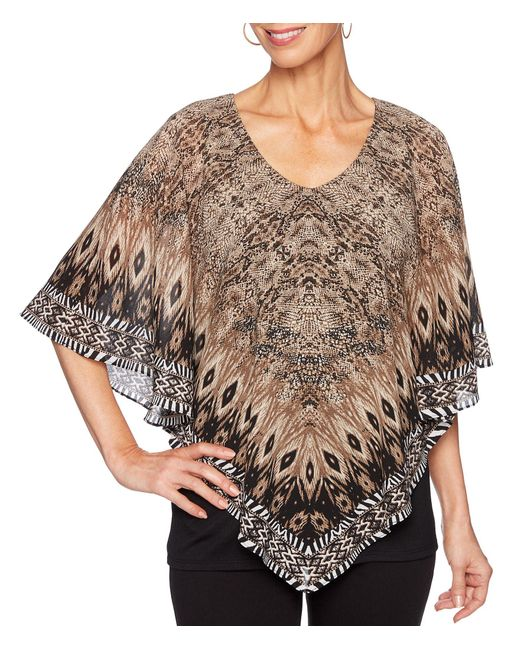 Ruby Rd Multicolor Jungle Placement Snake Print V-neck Butterfly Poncho Top