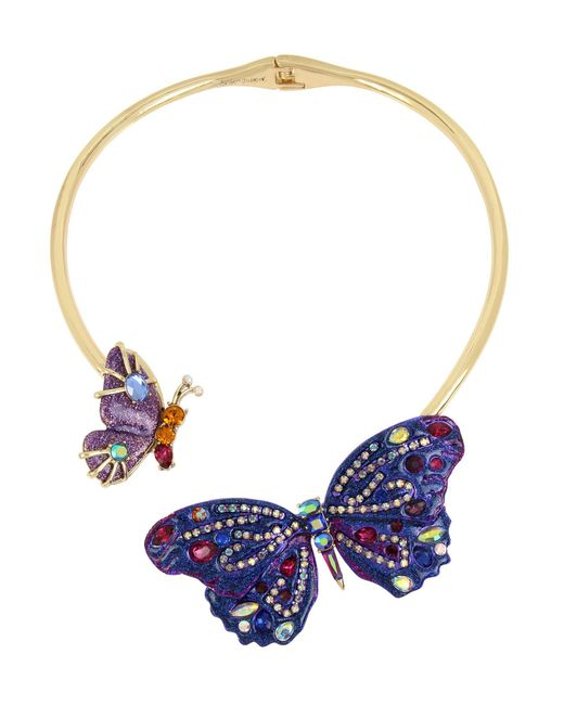"Betsey Johnson - Purple Gold-tone Glittery Stone Butterfly 16"" Collar Necklace - Lyst"