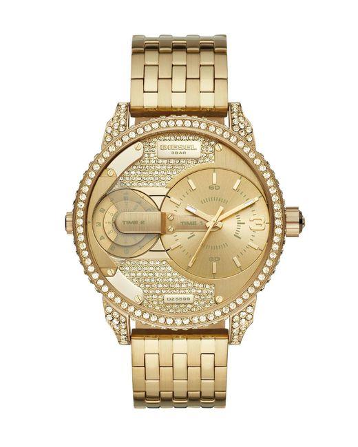 DIESEL Metallic Mini Daddy Glitz Three-hand Gold-tone Stainless Steel Watch for men