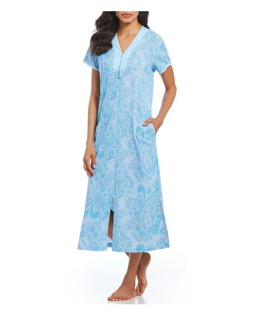 Miss Elaine - Blue Petite Paisley-print Interlock Zip-front Long Robe - Lyst