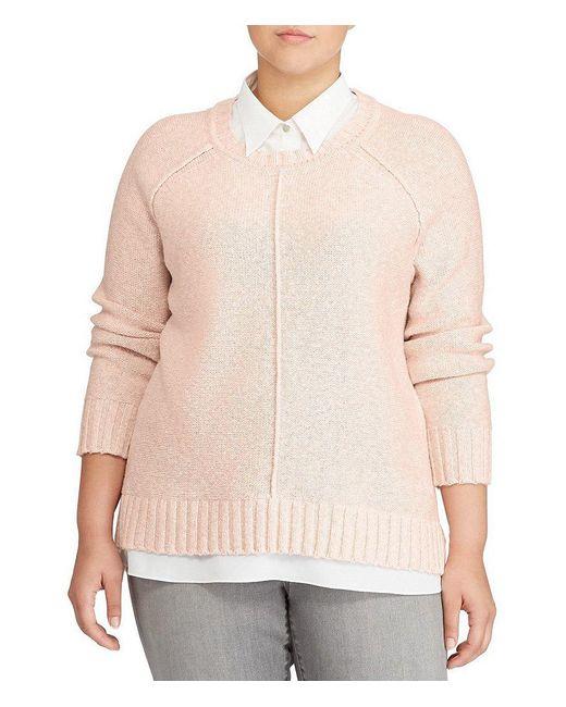Lauren by Ralph Lauren | Pink Plus Layered Cotton-blend Sweater | Lyst