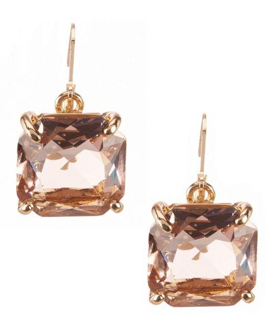 Belle By Badgley Mischka - Pink Square Stone Drop Earrings - Lyst