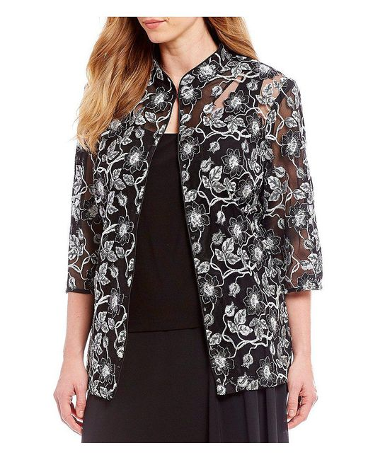 Alex Evenings - Black Plus Size 3/4 Sleeve Embroidered Twinset - Lyst