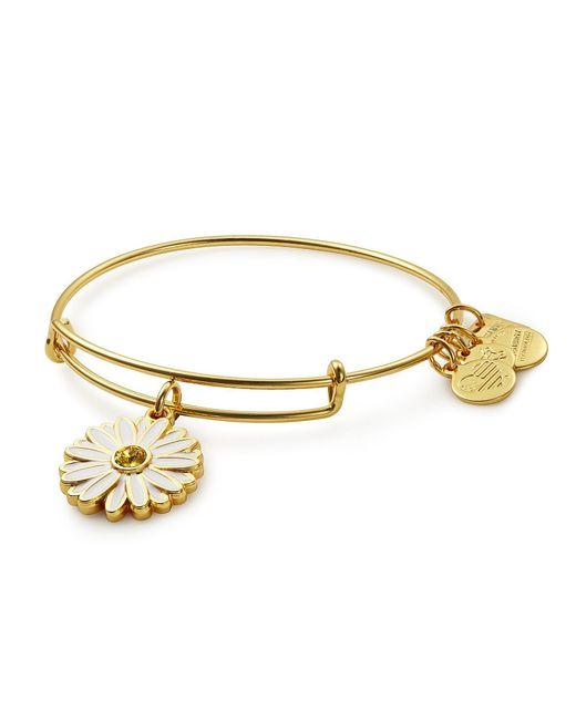 ALEX AND ANI - Metallic Daisy Charm Bangle Bracelet - Lyst