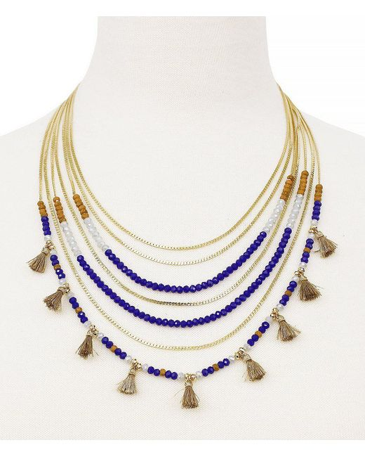 Jessica Simpson | Metallic Home Grown Tasseled Beaded Multi-row Necklace | Lyst