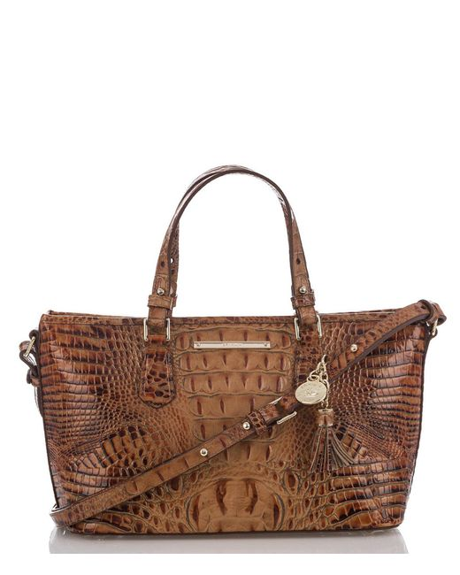Brahmin - Brown Toasted Almond Collection Mini Asher Tasseled Crocodile-embossed Tote - Lyst