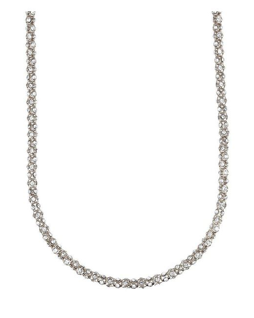Anne Klein - Metallic Long Pavé Crystal Necklace - Lyst