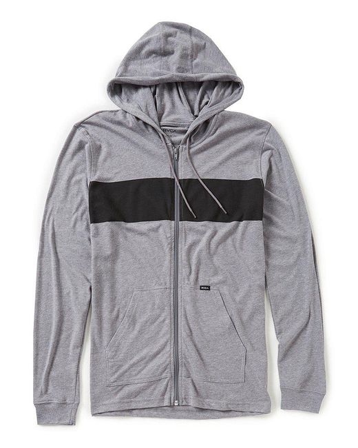 RVCA | Gray Line Up Full-zip Lightweight Hoodie for Men | Lyst