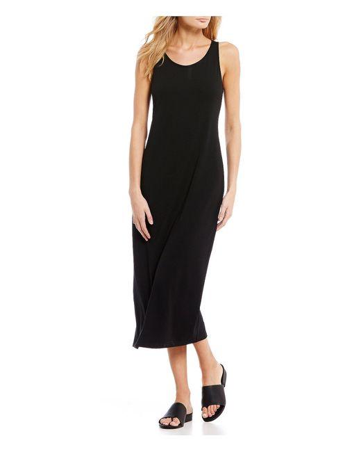 Eileen Fisher - Black Scoop Neck Tank Midi Dress - Lyst