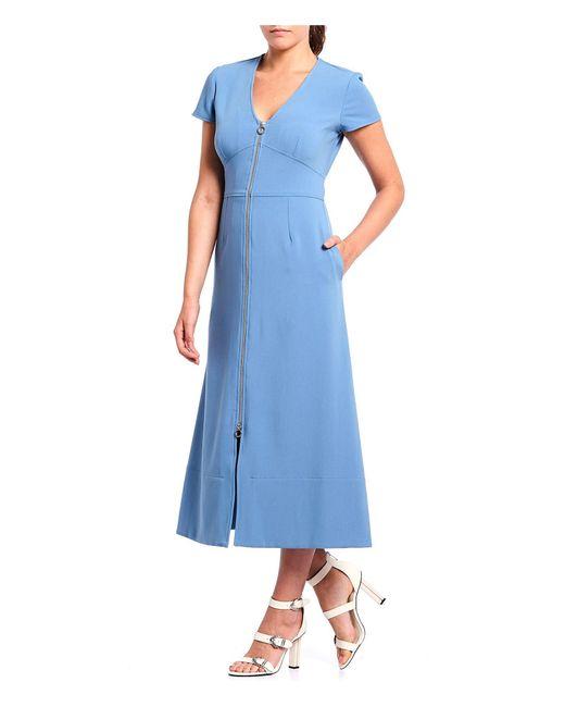 JILL Jill Stuart Blue Exposed Zipper A-line Midi Dress