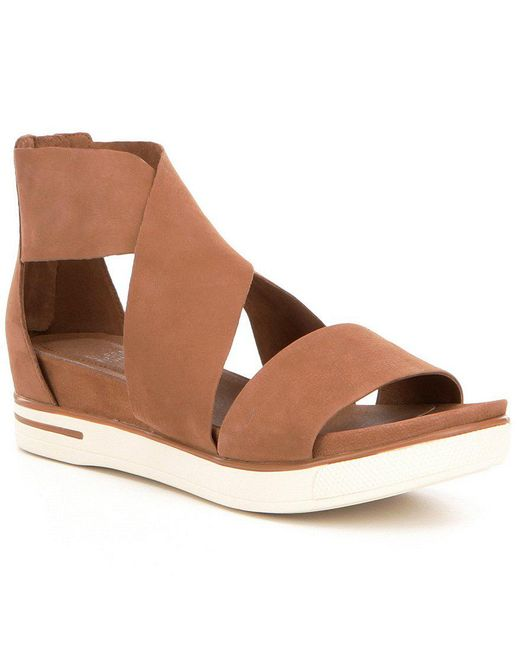 Eileen Fisher | Brown Tumbled Leather Criss Cross Banded Backstrap Sport Sandals | Lyst