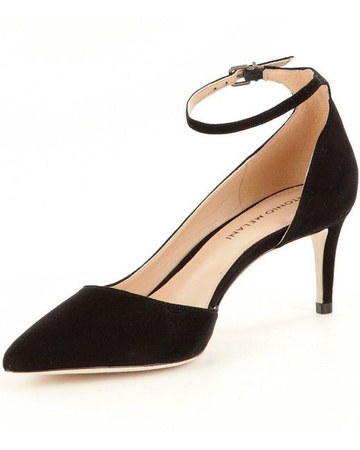 75f9569b9fd6 ... Antonio Melani - Black Marchela Suede Pointed-toe Ankle Strap Pumps -  Lyst ...