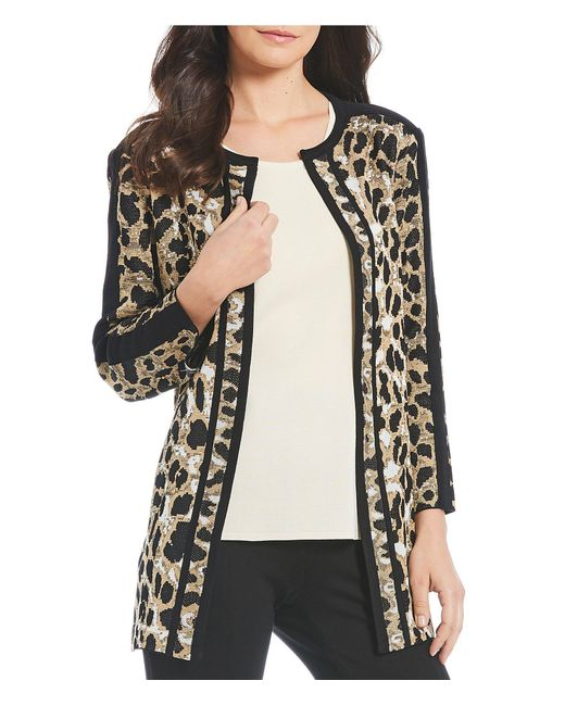 Misook - Black Jewel Neck Animal Print Jacket - Lyst