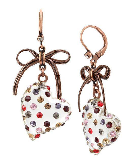 Betsey Johnson | Multicolor Heart Drop Earrings | Lyst