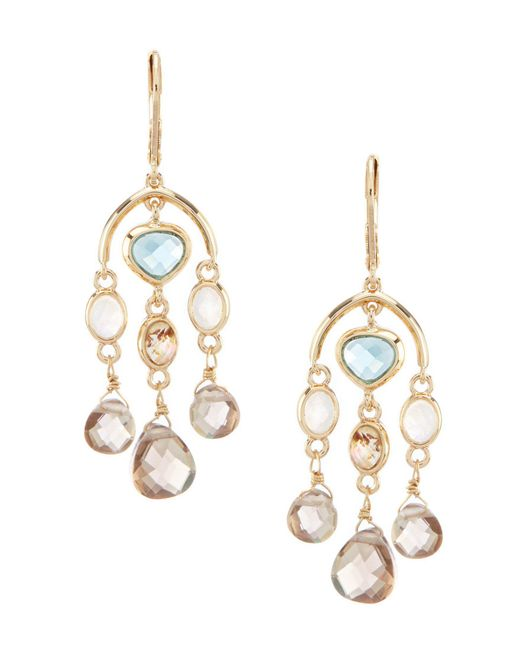 Anne Klein - Metallic Stone Chandelier Earrings - Lyst