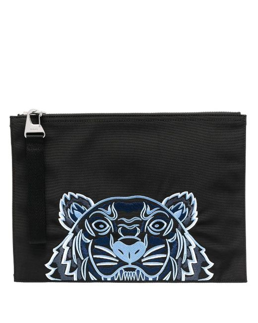 KENZO Black Tiger Embroidery Clutch Bag for men