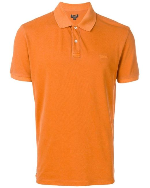 Woolrich Orange Logo Embroidery Polo Shirt for men