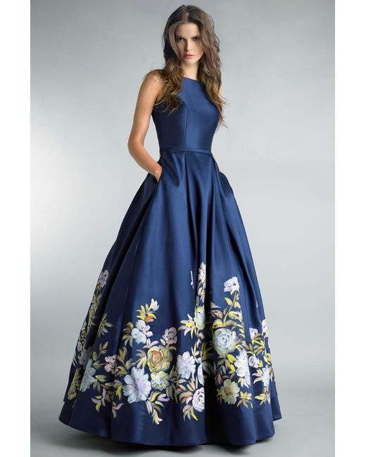 Basix Black Label - Blue Hand Painted Floral Ball Gown - Lyst