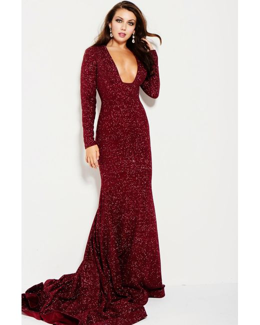 Lyst - Jovani Long Sleeve Shimmer Gown in Red