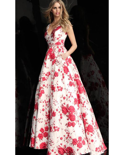 Jovani - Red Floral Ball Gown - Lyst