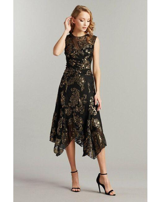 Tadashi Shoji Black Adlee Handkerchief Dress