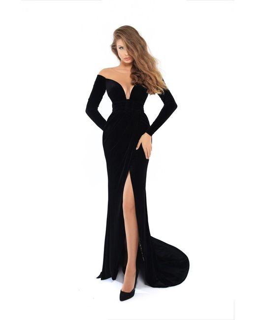 Tarik Ediz Black 93749 Fitted Long Sleeves Evening Gown With Slit