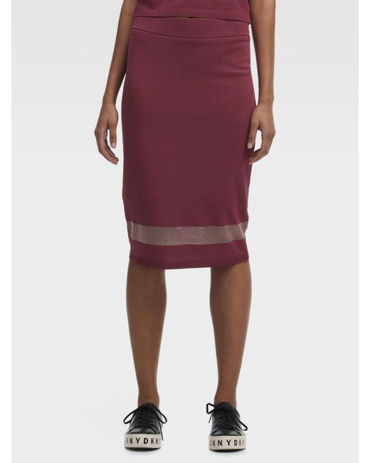 4c1a7c15d DKNY Stretch Midi Skirt With Mesh Detail in Purple - Save 26% - Lyst