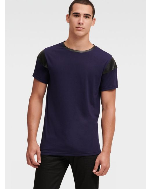 DKNY Blue Tee With Faux-leather Trim for men