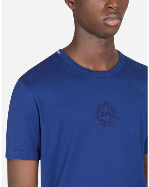 Dolce & Gabbana T-Shirt Baumwolle Dg-Stickerei in Blue für Herren