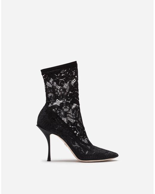 Dolce & Gabbana Botín De Encaje Elástico Y Groguén de mujer de color negro