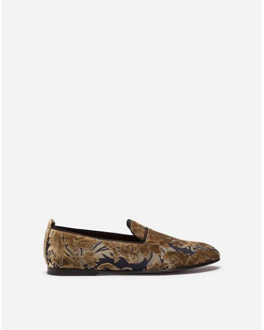 Dolce & Gabbana - Metallic Slippers In Velvet Brocade for Men - Lyst