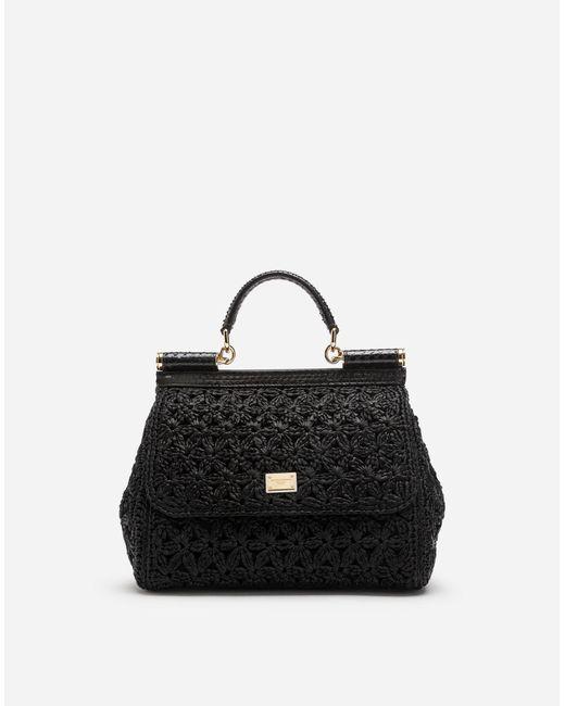 d55ff0ef0347 Lyst - Dolce   Gabbana Medium Raffia Crochet Sicily Bag in Black ...