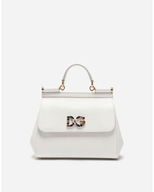 Medium Calfskin Sicily Bag With Iguana Print And Dg Crystal Logo Patch Dolce & Gabbana de color White