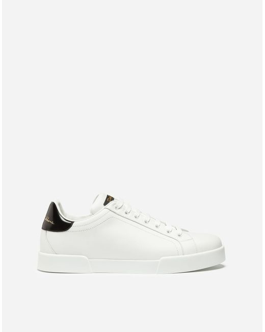 Dolce & Gabbana White Leather Portofino Sneakers for men