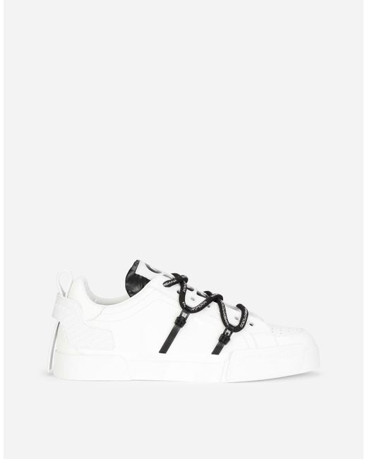 Dolce & Gabbana Multicolor Portofino Sneakers In Calfskin And Patent Leather for men